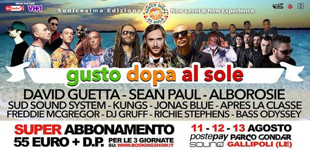 GUSTO DOPA AL SOLE FESTIVAL dall'11 al 13 Agosto: line up completa